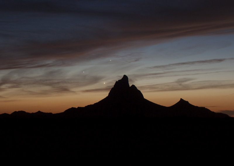Venus, Jupiter, and Mercury Over Picacho Peak