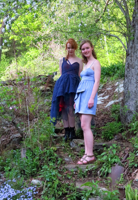 In the shade Garden;  Charlotte and Emma