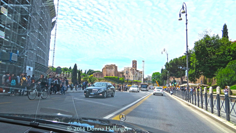 Driving into Rome from Fiumicino