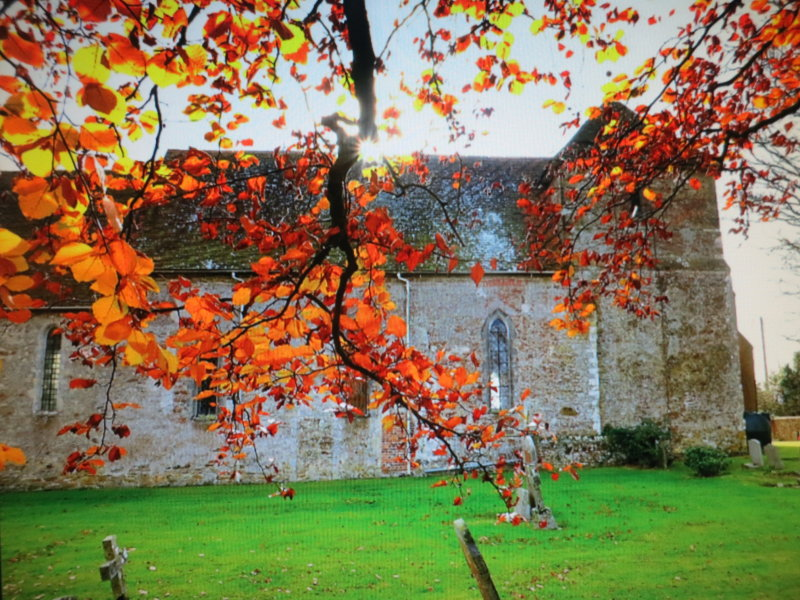 St. Marys  church , with autumnal  leaves.