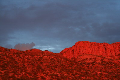 Zoom shot of sunset alpenglow on Apache Leap