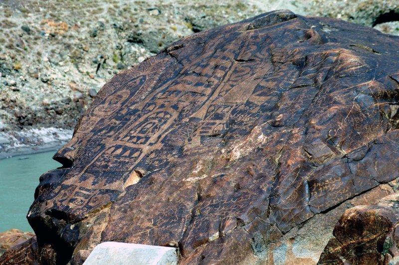 Buddha and Stupas, Petroglyphs, Chilas, Karakoram Highway, Pakistan