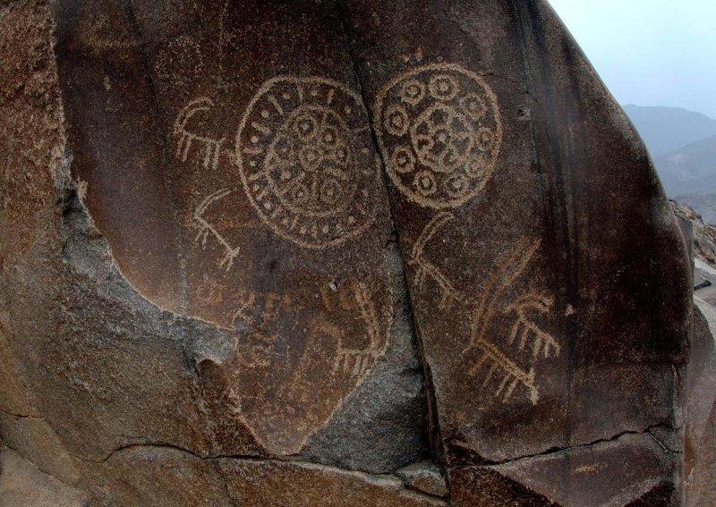 Ibex and abstract Buddhist motifs, Petroglyphs, Chilas, Karakoram Highway, Pakistan