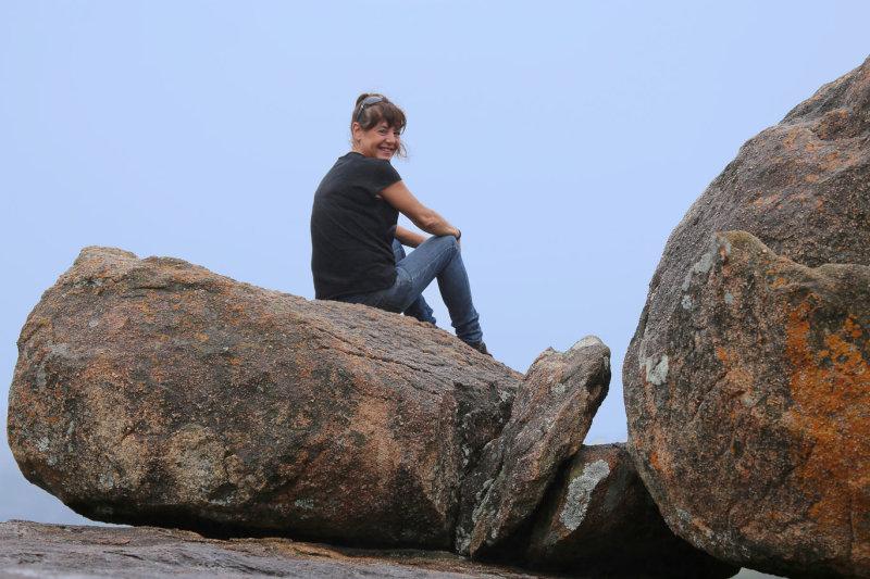 Tanya enjoying the view between thunderstorms, Matobo Hills, Zimbabwe