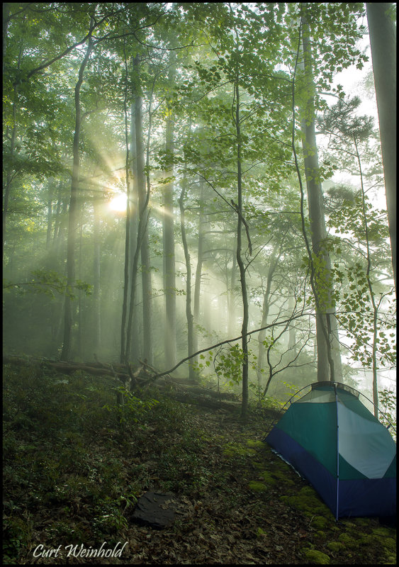 Godbeams & my tent.