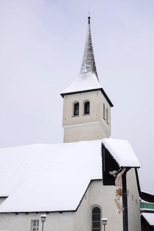 Fresh snow on the steeple