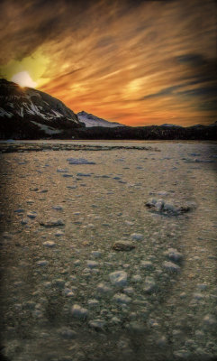 Frigid sunset , Glacier Bay National Park, Alaska, 2013