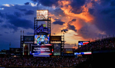 Seventh inning stretch, Coors Field, Denver, Colorado, 2014