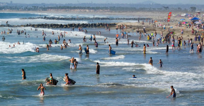 Weekend bathers, Imperial Beach, California, 2014