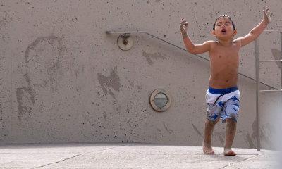 Needs shower, Imperial Beach, California, 2014