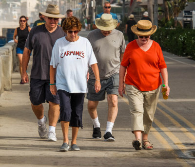Stepping along, Mission Beach, California, 2015