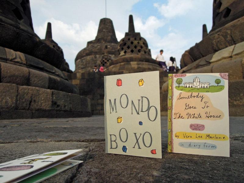 Three Small Books visit Borobudur, Java in November of 2013