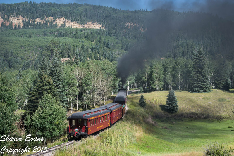 Train 216 is rounding the S curve leading to Labato