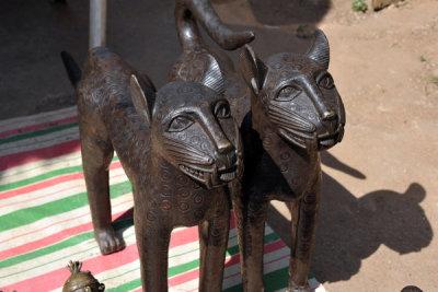 Benin-style bronze leopards, Abuja Arts & Crafts Market