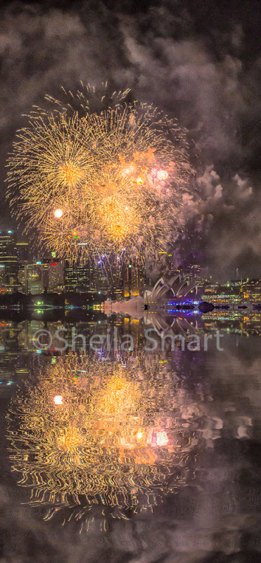 Sydney Opera House with fireworks - an abstract