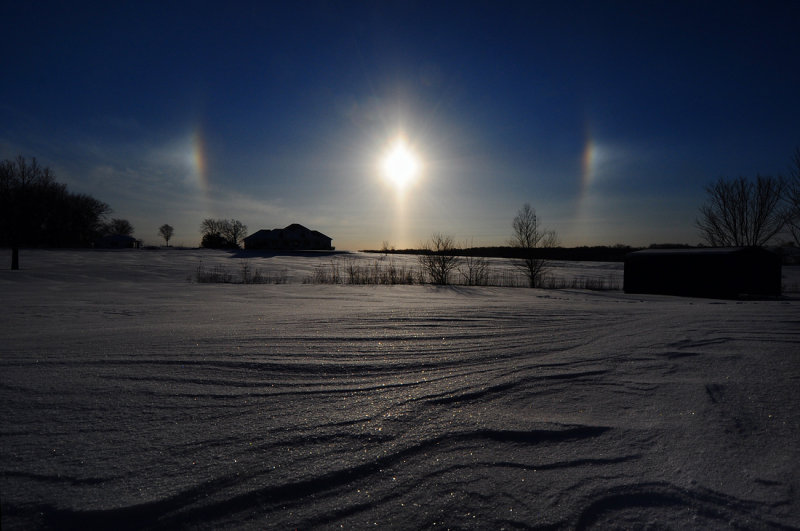 Sundogs with Snow Patterns