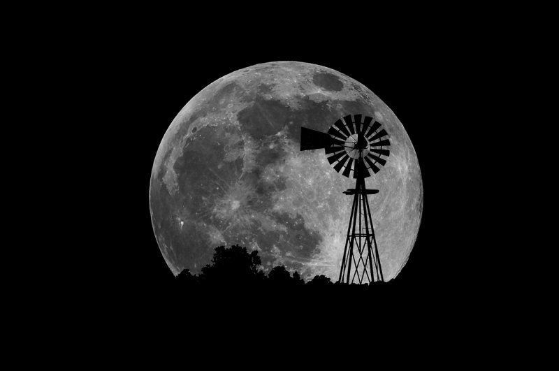 Windmill with Moon