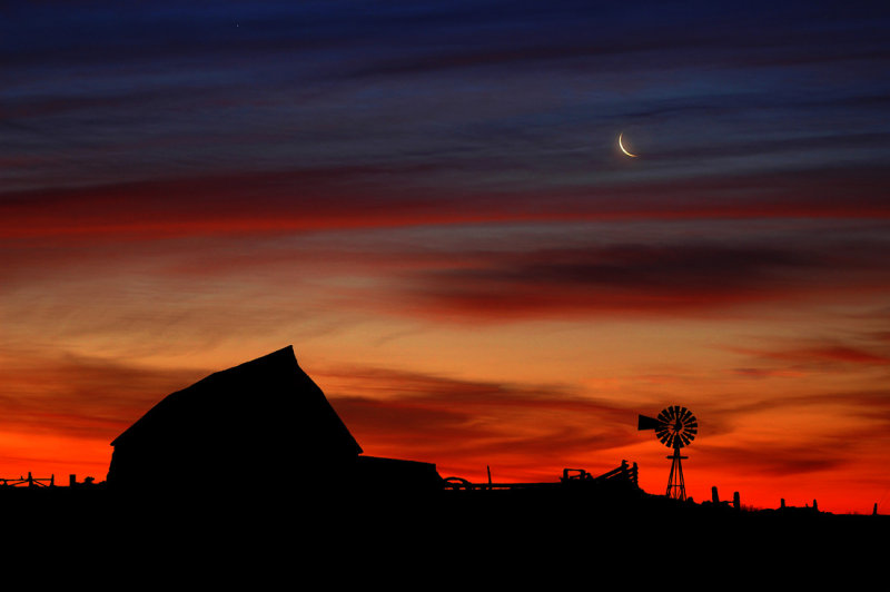 Moon with Old Barn (Composite)