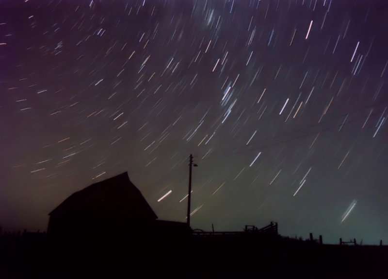 Star Trails Over Barn (Silhouette)
