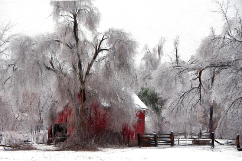 Ice Storm & Barn (Impression)