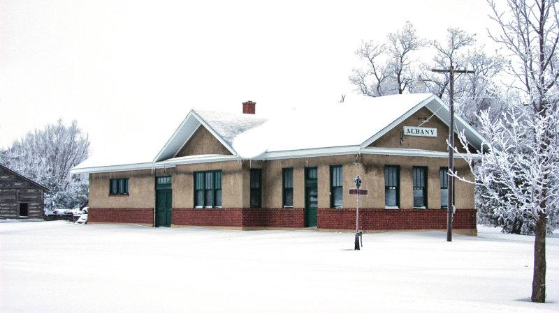 Railroad Depot in Winter
