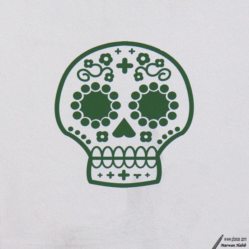 Green skull / Crâne vert