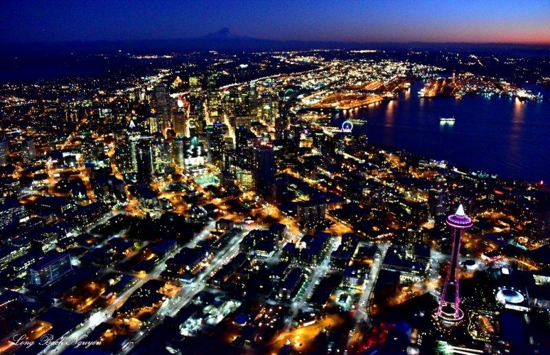 Space Needle, Downtown Seattle, Elliott Bay, Mount Rainier, South Seattle, New Year Eve 2014