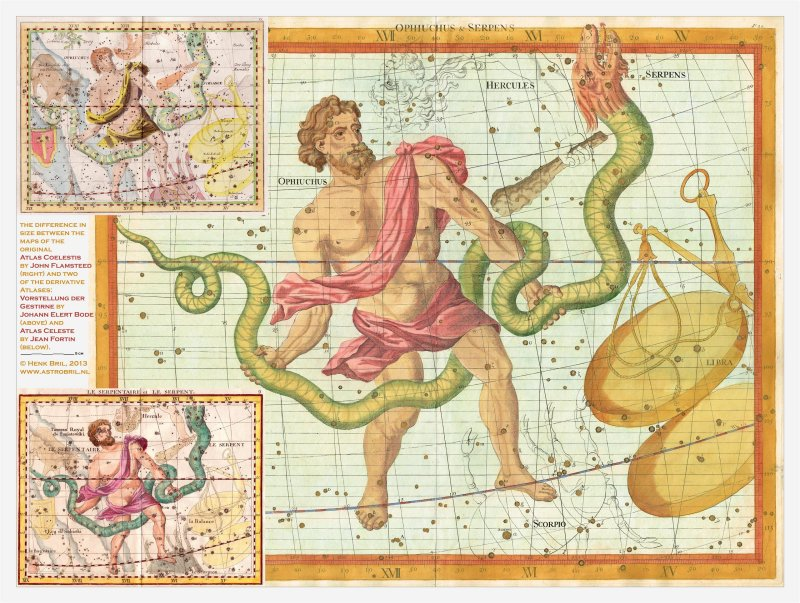 sizes Flamsteed vs Fortin vs Bode - Ophiuchus