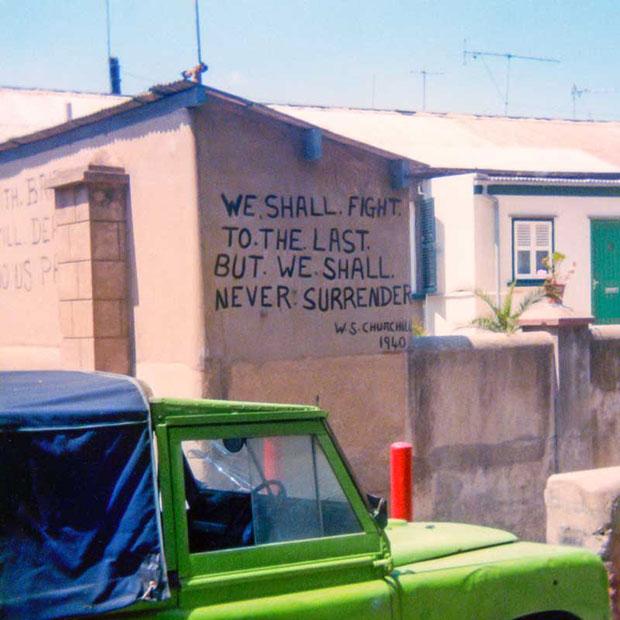 Gibraltar_01.jpg Political graffiti on houses - Gibraltar - © A Santillo 1979