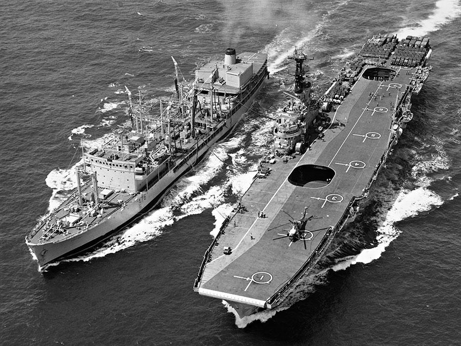 RFA-Tidepool-1.jpg RFA Tidepool refuelling at sea (RAS) with HMS Bulwark somewhere in the Mediteranean - 1969