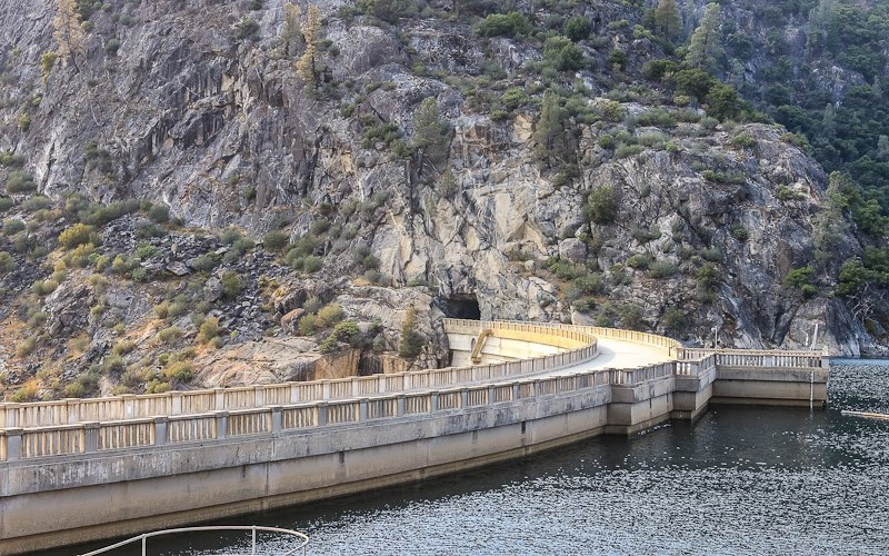 The top of the O'Shaughnessy Dam in the Hetch Hetchy Valley in Yosemite National Park