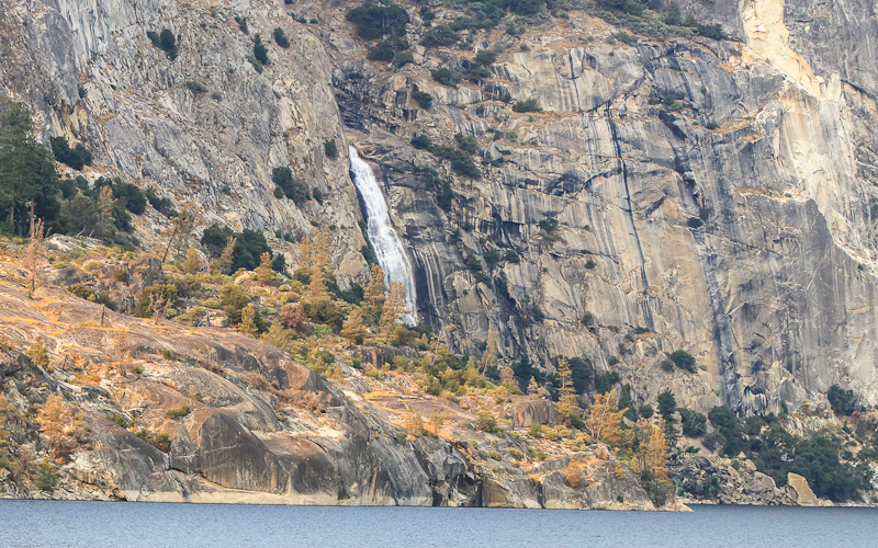 Wapama Falls flows into the Hetch Hetchy Reservoir in Yosemite National Park