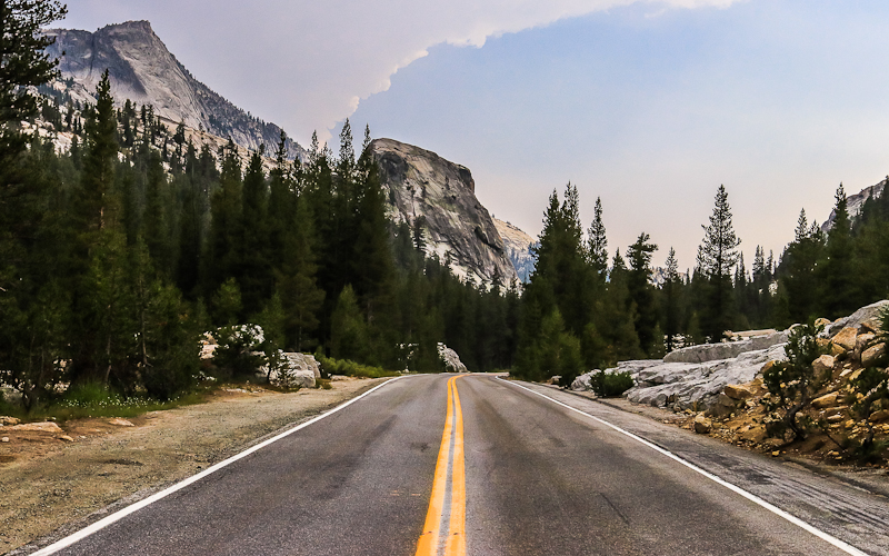 Tenaya Peak (left) and granite outcropping along the Tioga Road in Yosemite National Park