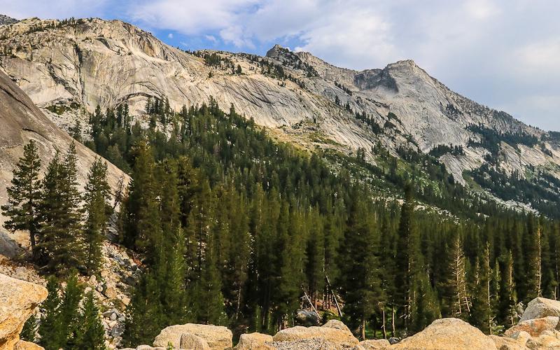 Granite mountain ridge with Tenaya Peak on the right along the Tioga Road in Yosemite National Park