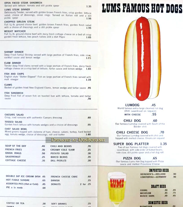 1960s - the majority of a Lums menu with items and prices
