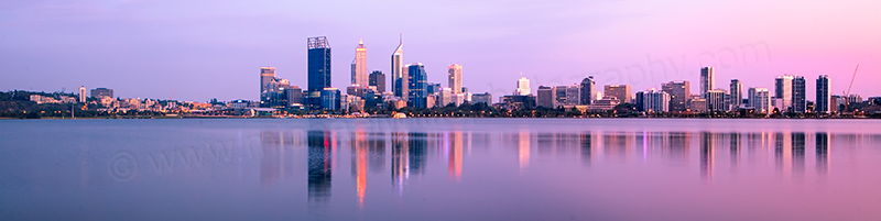 Perth and the Swan River at Sunrise, 13th February 2012