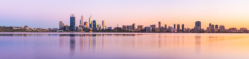 Perth and the Swan River at Sunrise, 15th April 2012