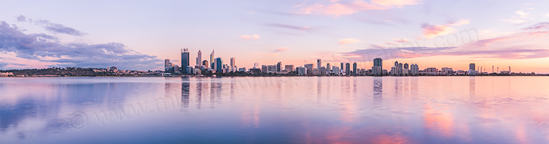 Perth and the Swan River at Sunrise, 16th April 2012