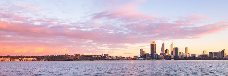 Perth and the Swan River at Sunrise, 18th April 2012