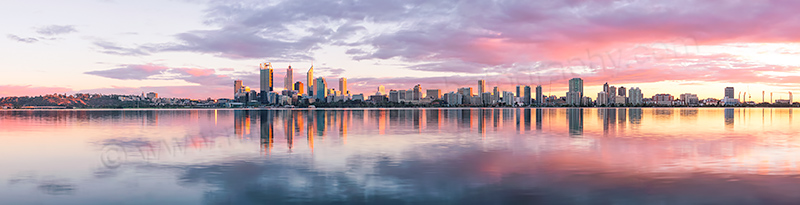 Perth and the Swan River at Sunrise, 20th April 2012