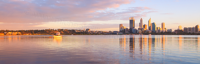 Perth and the Swan River at Sunrise, 21st April 2012