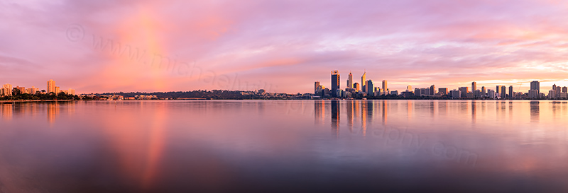 Rainbow Over Perth and the Swan River at Sunrise, 22nd April 2012