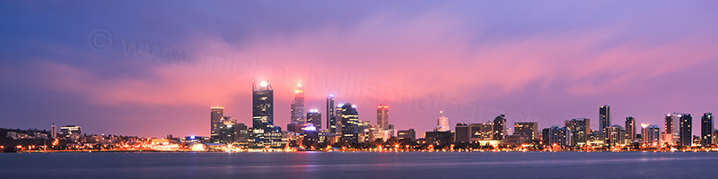 Perth and the Swan River at Sunrise, 12th August 2012