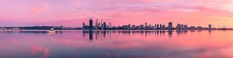 Perth and the Swan River at Sunrise, 19th August 2012
