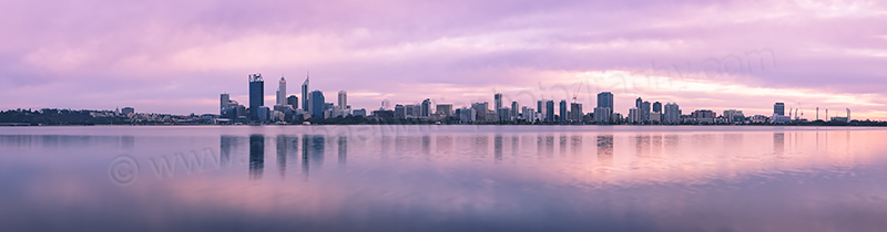 Perth and the Swan River at Sunrise, 24th August 2012
