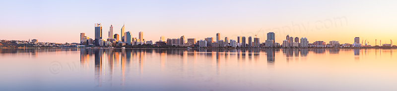Perth and the Swan River at Sunrise, 25th August 2012