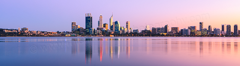 Perth and the Swan River at Sunrise, 30th August 2012