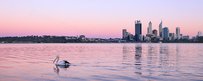 Perth and the Swan River at Sunrise, 2nd February 2013