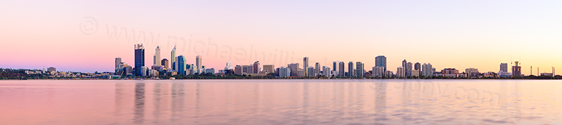 Perth and the Swan River at Sunrise, 3rd March 2013
