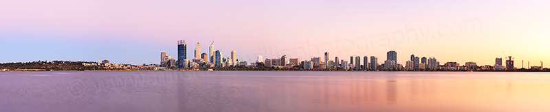 Perth and the Swan River at Sunrise, 7th March 2013